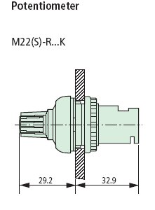 M22-R10K Potentiometer Dimensions